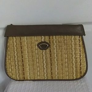 Etienne Aigner Oversized Straw & Leather Clutch